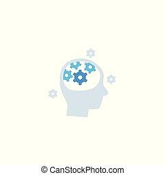 icône, engrenages, pensée, tête