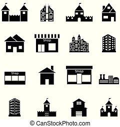 icône, ensemble, bâtiment