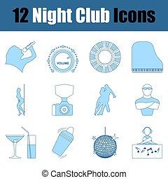 icône, ensemble, boîte nuit