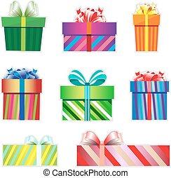 icône, ensemble, cadeau, coloré, boxes.