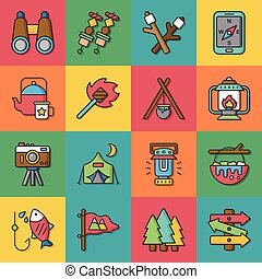 icône, ensemble, camping, vecteur