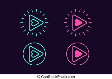 icône, ensemble, de, jeu, button., vecteur, signe, ui, élément