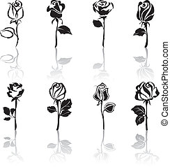 icône, ensemble, de, roses, à, réflexions
