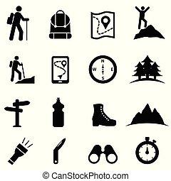 icône, ensemble, loisir, randonnée, récréation