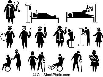 icône, ensemble, monde médical, healthcare