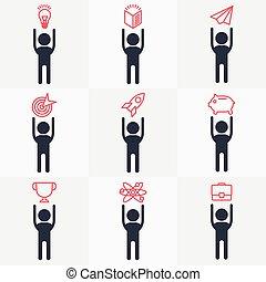 icône, ensemble, objets, gens