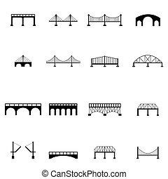 icône, ensemble, pont
