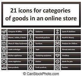 icône, ensemble, sections, magasin, ligne