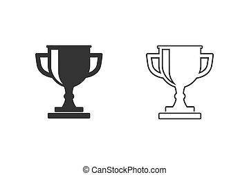icône, ensemble, trophée, ligne blanche, arrière-plan., vecteur