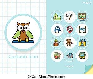 icône, ensemble, zoo, vecteur