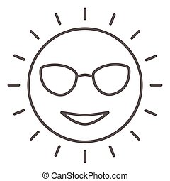 icône, ensoleillé, vecteur, signe, figure, lunettes, mignon, graphics., style, concept, toile, blanc, sourire, contour, design., ligne, icône, concept, mince, croisière, mobile, mer, arrière-plan soleil