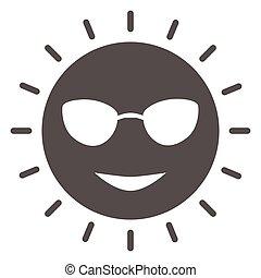 icône, ensoleillé, vecteur, signe, figure, lunettes, mignon, graphics., style, concept, toile, blanc, glyph, sourire, solide, design., icône, concept, croisière, mobile, mer, arrière-plan soleil