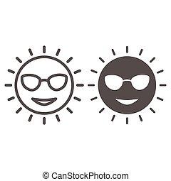icône, ensoleillé, vecteur, signe, figure, lunettes, mignon, graphics., style, concept, toile, blanc, sourire, contour, solide, design., ligne, icône, concept, croisière, mobile, mer, arrière-plan soleil