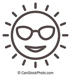 icône, ensoleillé, vecteur, signe, figure, lunettes, mignon, graphics., style, concept, toile, blanc, sourire, contour, design., ligne, icône, concept, croisière, mobile, mer, arrière-plan soleil