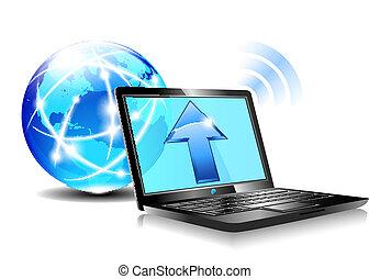 icône, envoyer un fichier par transfert de données en une ordinateur, nuage, internet