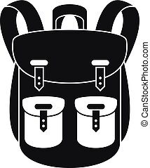 icône, escalade, sac à dos, style, simple