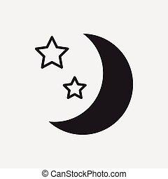 icône, espace, lune