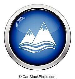 icône, falaise, crêtes, mer, neige