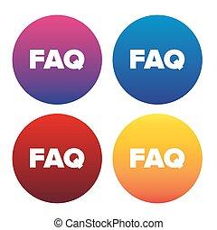 icône, faq, vecteur, illustration, signe
