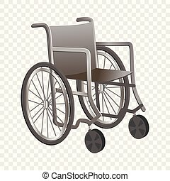 icône, fauteuil roulant, style, dessin animé