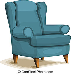 icône, fauteuil, style, dessin animé