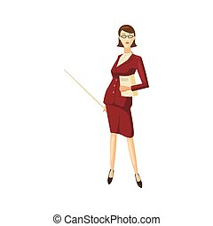 icône, femme affaires, style, dessin animé