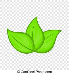 icône, feuilles, vert, style, dessin animé