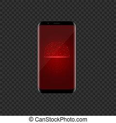 icône, figure, smartphone, rouges, balayage