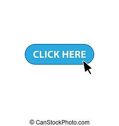 icône, flèche, cliquez ici, bouton