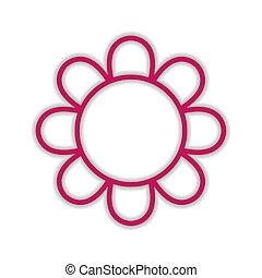 icône, fleur rose, isolé