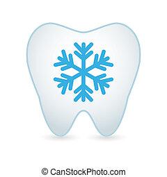 icône, flocon neige, dent