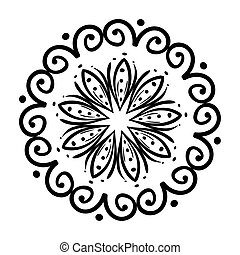 icône, fond, blanc, mandala