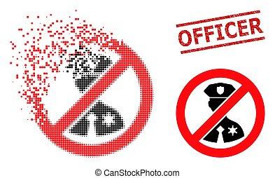 icône, fracturé, timbre, officier, pixel, textured, non, police, cachet