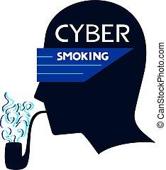 icône, fumer, cyber
