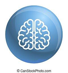 icône, génie, style, contour, cerveau