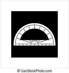 icône, géométrie, outillage, rapporteur, icône