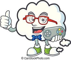 icône, gamer, pensée, bulle, conception, nuage