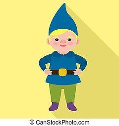 icône, garçon, style, gnome, plat