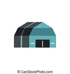 icône, garage, style, stockage, plat