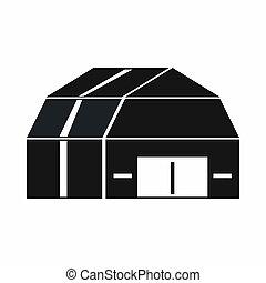 icône, garage, style, stockage, simple