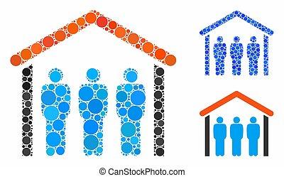 icône, gens, points, mosaïque, cercle, toit, sous