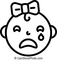 icône, girl, bébé, style, pleurer, contour