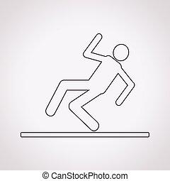icône, glissant, plancher, signe