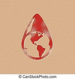 icône, goutte, eau, -, halftone, la terre