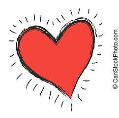 icône, griffonnage, vecteur, coeur rouge