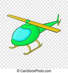 icône, hélicoptère, style, vert, dessin animé
