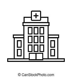 icône, hôpital, style, contour