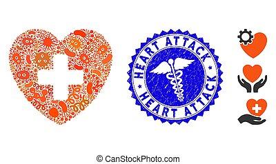 icône, healthcare, éruption, mosaïque, crise cardiaque, cachet, grunge, cardiologie