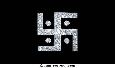 icône, hindou, particules, scintillement, swastik, swastika...