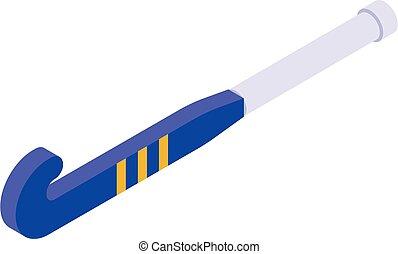 icône, hockey, champ, style, isométrique, crosse